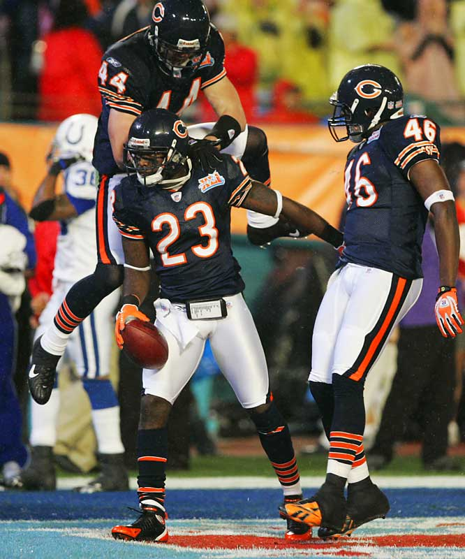 14 ... Devin Hester's kickoff return for a touchdown 14 seconds into the game was the fastest touchdown in Super Bowl history. The previous fastest TD took 84 seconds. That was Jerry Rice's 44-yard TD catch from Steve Young 1:24 into the 49ers' 49-26 win in Super Bowl XXIX.
