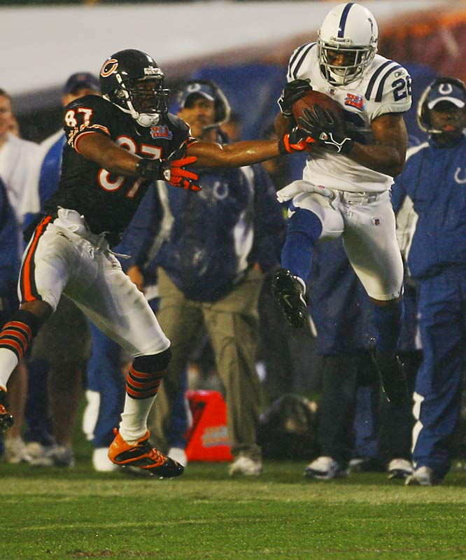 56 ... Kelvin Hayden's 56-yard interception return for a touchdown was the longest in 30 years and fourth-longest in Super Bowl history.