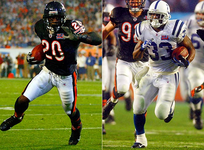 3 ... With Dominic Rhodes running for 113 yards and Thomas Jones 112, Super Bowl XLI was only the third Super Bowl in which both teams had a 100-yard rusher. In Super Bowl III, Matt Snell of the Colts had 121 rushing yards and Tom Matte had 116, and in Super Bowl XXV Ottis Anderson of the Giants ran for 102 and Thurman Thomas of the Bills had 135.