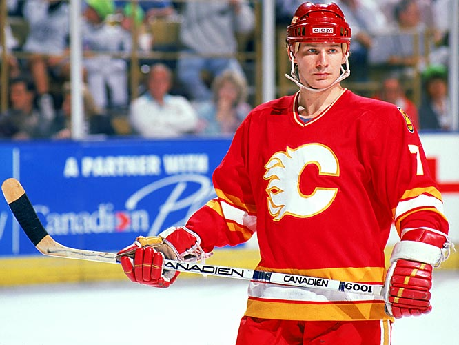 The Hall of Fame forward arrived from St. Louis in a six-player deal on Feb. 1, bringing toughness, scoring and superb two-way play. He scored 29 goals down the stretch and another 12 in the playoffs as the Flames reached the Cup finals, only to fall to Montreal.