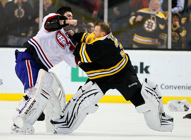 "When goalies square off, you never know if you'll get a stirring heavyweight bout or, like this one, a clumsy waltz between two sacks of equipment. ""I think we were just play-fighting more than anything,"" Price said. ""Neither of us really wanted to get hurt, but we are out there doing whatever we had to do, I guess.""   Click here to watch the fight!   Here are 18 more notable goalie dust-ups with video for your entertainment pleasure."