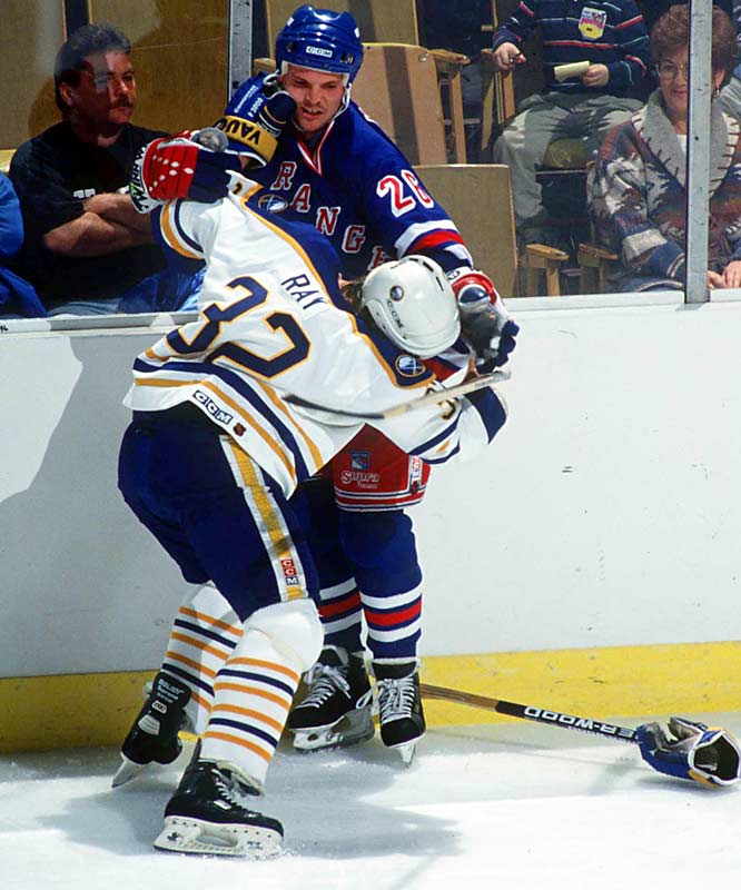 The other half of Detroit's Bruise Brothers actually led the NHL in PIM (377) in 1985-86 while skating with feared enforcer Bob Probert and the equally ungentle Randy Ladouceur. Kocur later mixed it up for the Rangers and Canucks.