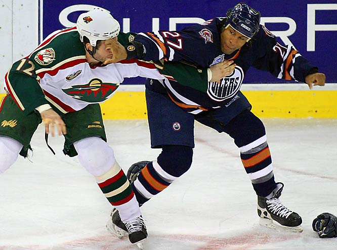 "At 6'8"", 243, <italics>The Hockey News</italics>' Best Fighter of 2003 is still going strong in Phoenix, as his decisive victory in a 2006 heavyweight bout with Minnesota masher Derek Boogaard clearly demonstrated. Laraque retired with 1,126 PIM."