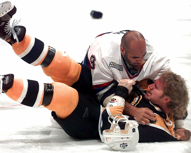 "Marty Mac (bottom) had Wayne Gretzky's back in L.A., succeeding Dave ""Cement Head"" Semenko, the Great One's protector in Edmonton. With Boston, McSorley got himself charged with assault and suspended indefinitely for applying a stick to the head of Vancouver enforcer Donald Brashear in a 2000 game."