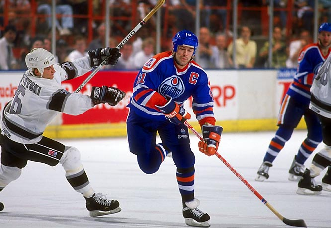 "The Oilers' third-round pick (48th overall) in the 1979 NHL Draft, Mark Messier brought size, skill, fire, edge and leadership to a budding dynasty. The strapping ""Moose"" quickly stood out in a supremely talented cast that included future Hall of Famers Wayne Gretzky, Paul Coffey, Jari Kurri and Grant Fuhr."