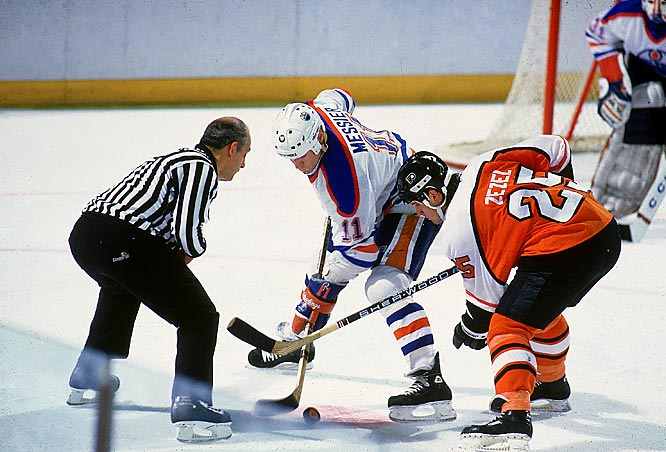 Messier was at his best again in the 1984-85 postseason, scoring 25 points in 18 games as the Oilers' awe-inspiring offense produced a Cup repeat by beating the Philadelphia Flyers, the owners of the league's best regular-season record, in five games.