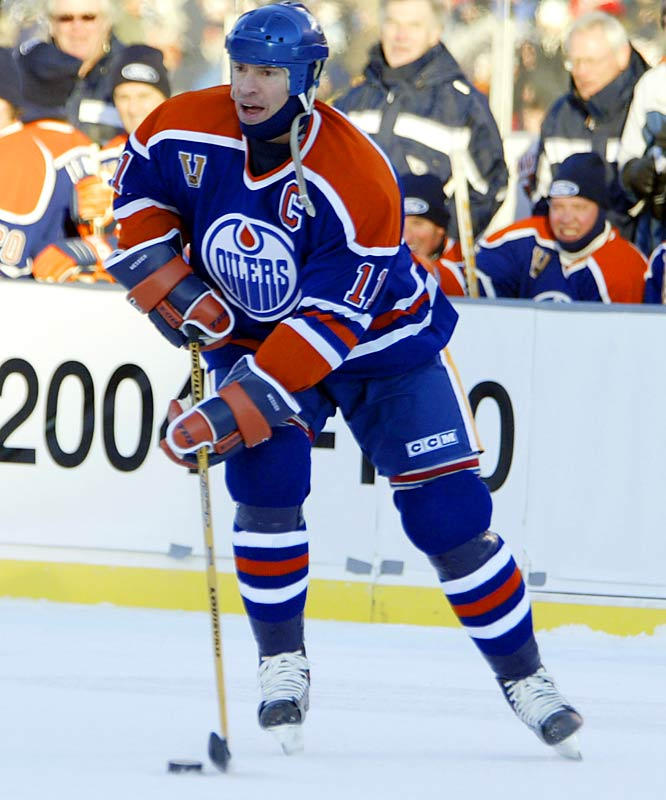 Messier retired in the summer of 2005, with 6 Cups, two Harts, a Smythe Trophy, 15 All-Star Game appearances, and 694 goals. His 1,887 points rank second all-time), but most of all, he was widely recognized as the personification of intensity and leadership, no more so than in Edmonton.