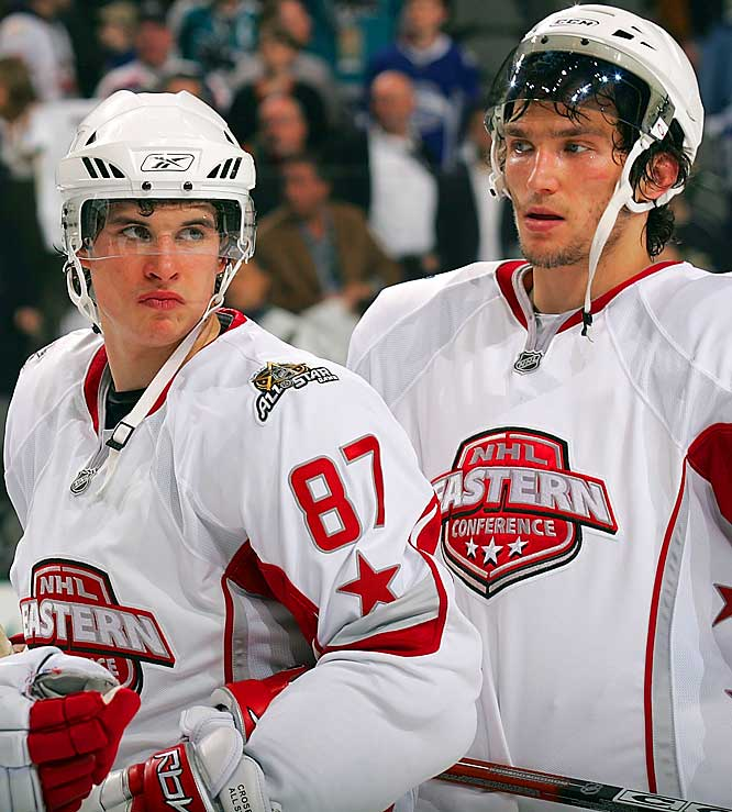Skating on the same team for the first time, Ovechkin scored in the second period, but Crosby was blanked as their Eastern Conference squad fell to the Western Conference, 12-9, at the 2007 NHL All-Star Game in Dallas.