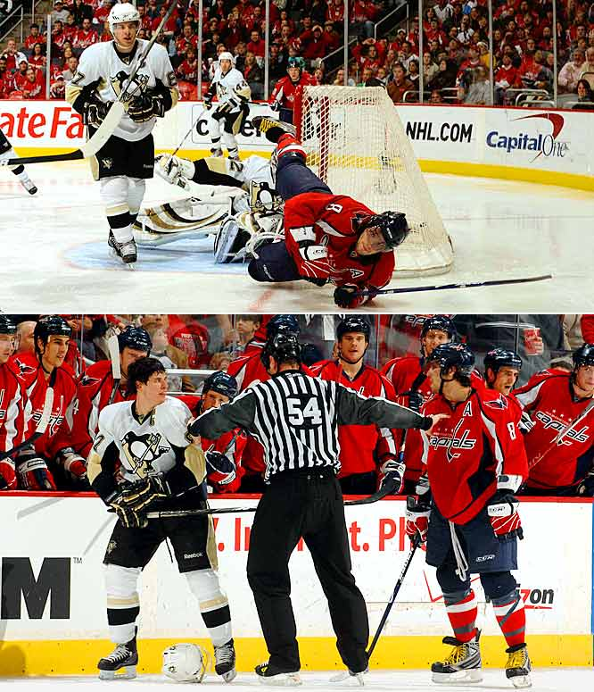 It got ugly as the Caps ran their season mark vs. the Pens to 3-0 with a 5-2 win in Washington on Feb. 22, 2009. The Caps, delighted that the rivalry's tide had turned, gave Crosby an earful and he tussled with A.O. in the second period and had to be restrained. ''What I can say about him?'' said, Ovechkin, who opened scoring with his 43rd goal of the season. ''He is a good player, but he talks too much. I play hard. If he wants to do something like hit me again, try to hit me again -- and I'll talk to you guys (about) who plays dirty. That's my game. It's not cheap shots, it's a game moment. But he doesn't like it, it's his problem.'' Crosby, who had an assist, took exception to A.O.'s flamboyance: ''Like it or lump it, that's what he does. Some people like it, some people don't. Personally, I don't like it.''