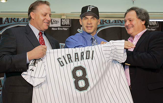 Despite winning NL Manager of the Year honors, Girardi was like a <i>Canary In A Coalmine</i> with the Marlins. Team owner Loria fired him shortly after the 2006 season even though Girardi had led the low-payroll Fish to the brink of playoff contention.