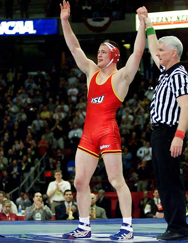 Cael Sanderson's 159 consecutive wins during his undefeated college career at Iowa State from 1999 to 2002. Also worthy of mention is Dan Gable, who won 99 in a row for Iowa State's varsity before losing the final match of his college career.