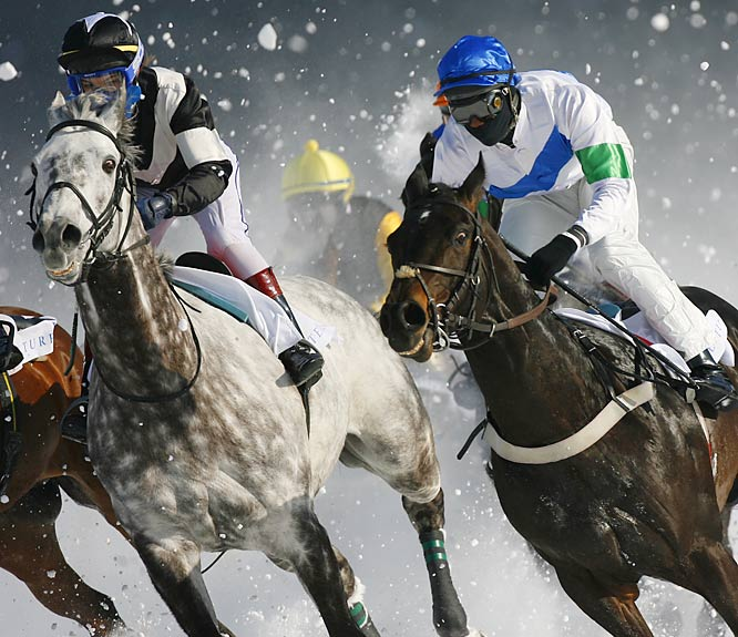 Sports Illustrated photographer Bob Martin recently traveled to St. Moritz and took these stunning images at the White Turf horse races on ice.  Staged since 1907, White Turf offers multiple events, including world-exclusive skijoring and trotting races, all on the flattest course in the world.
