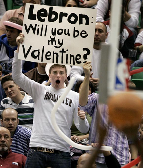 Apparently LeBron James didn't accept this fans' offer...