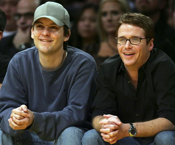 Tobey Maguire and Entourage's Kevin Connolly took in a Knicks-Lakers game this week. Where's Turtle?