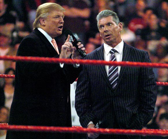 Earlier this week, Donald Trump challenged Vince McMahon to a Hair vs. Hair match at this March's Wrestlemania. We say add Rosie O'Donnell and make it a three-way match.