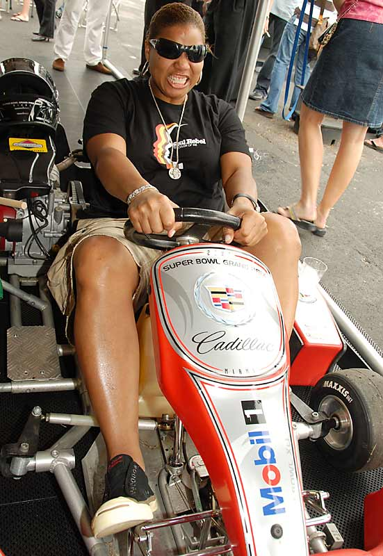 Queen Latifah is ready to take on the competition at the Cadillac Celebrity Go-Kart Race.