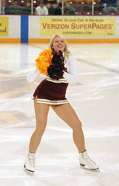 Meet Kristina, a junior at Minnesota and member of the Gophers cheerleading squad. Off the ice, she likes  Will Ferrell movies, huge purses and the Green Bay Packers. Wanna hear more about Kristina? Click on the 20 Questions link below.