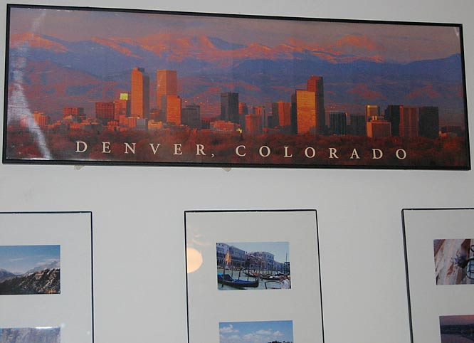 If you were more than 1,600 miles from home, you'd probably want a little reminder of it, too.  This is Waner's -- a picture of the Denver skyline.