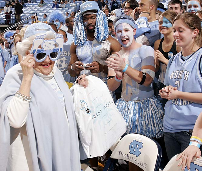 One thing about Carolina fans -- they'll never be guilty of age discrimination, as evident by the acceptance of this old timer during Sunday's victory over Duke.