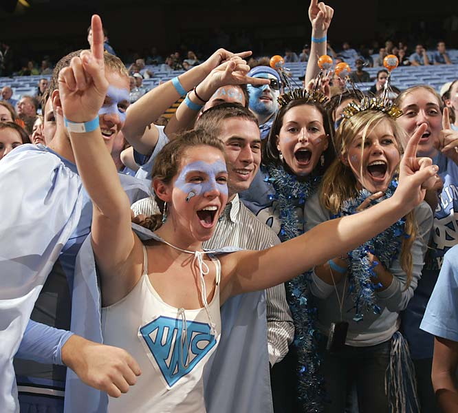 This Tar Heel fan superhero/fan was all smiles during Sunday's victory over Duke.