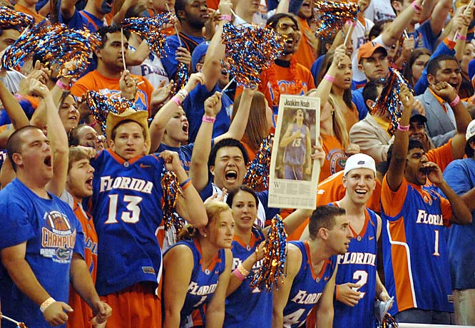 Florida fans rise to their feet during the final moments of Sunday's 85-72 victory over Kentucky.