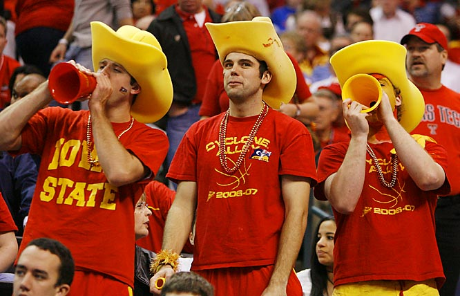 Iowa State fans let out a yell during the Cyclones' first round loss to Oklahoma in the Big 12 tournament on Thursday.