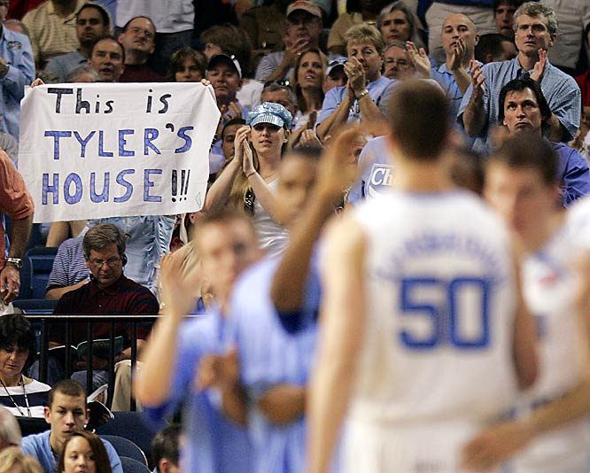 North Carolina fans make Tyler Hansbrough feel at home during the Tar Heels' 73-58 win over Florida State on Friday.