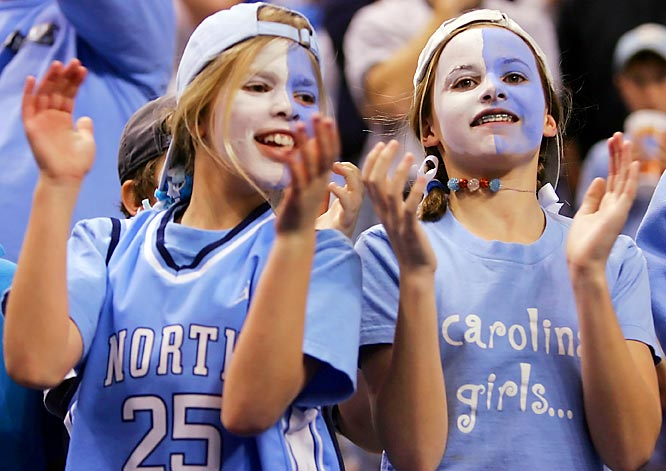 These two North Carolina fans were all smiles during the Tar Heels second-round victory over Michigan State on Saturday.
