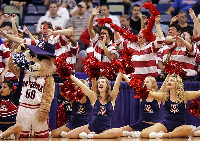 Arizona fans (and cheerleaders) root on the Wildcats during their first-round loss to Purdue on Friday.