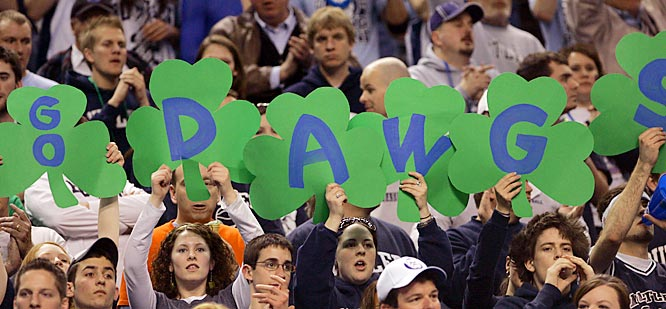 Butler fans get in the St. Patrick's Day mood during the Bulldogs' second-round victory over Maryland.