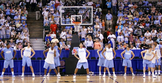 UNC fans enjoy a Tar Heels practice prior to the team's first-round game against Eastern Kentucky.