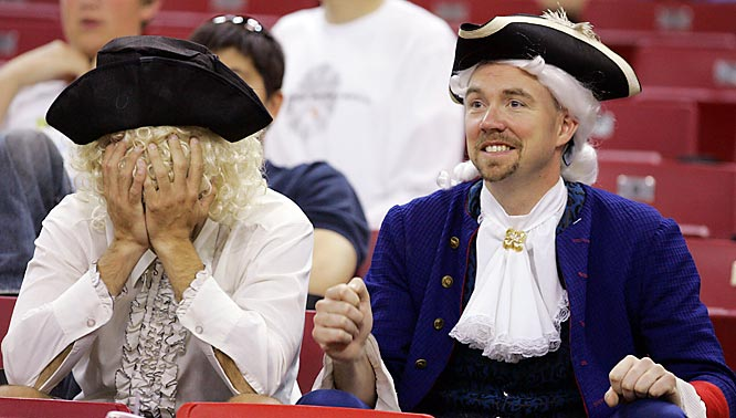George Washington fans react after the Colonials first-round loss to Vanderbilt on Thursday.