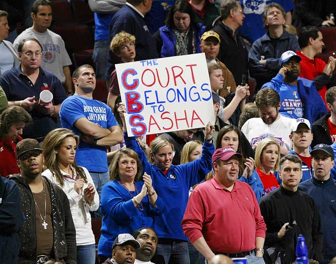 Kansas fans show their love for Sasha Kahn during the Jayhawks' 88-76 victory over Kentucky.