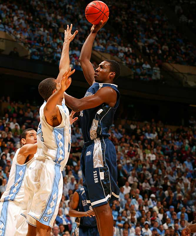 Jeff Green skies over a Tar Heel during Georgetown's overtime victory over North Carolina.