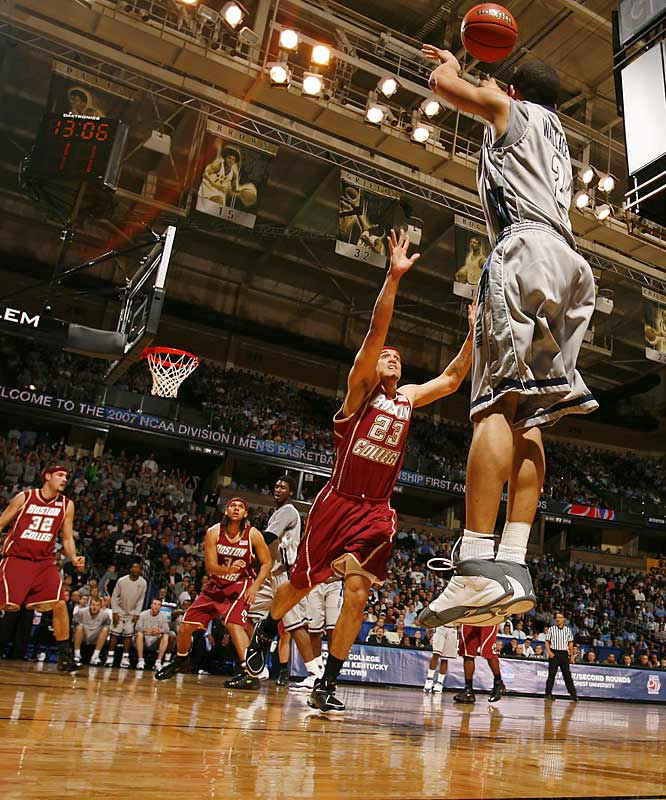 Jessie Wallace hit 2-of-3 three pointers as the Hoyas beat old conference rival Boston College to advance.