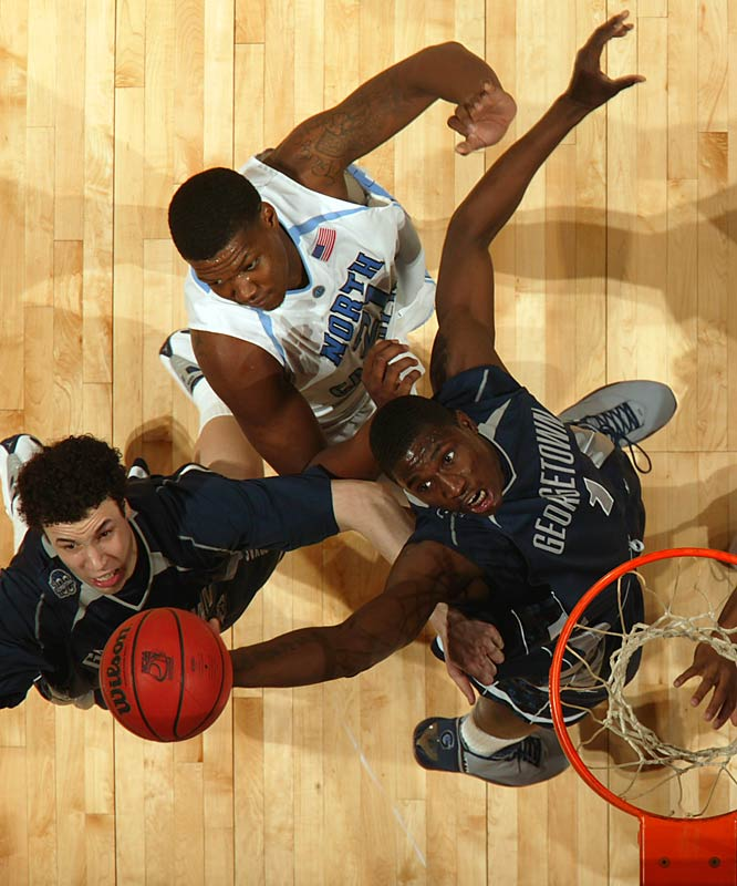 Vernon Macklin takes a shot in the Hoyas' come-from-behind overtime victory, which sent Georgetown to the Final Four.