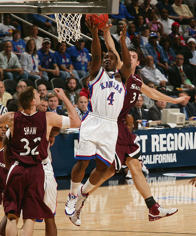 Sherron Collins chipped in two points (only one Jayhawk scored in double digits) to help Kansas win its 14th straight game.