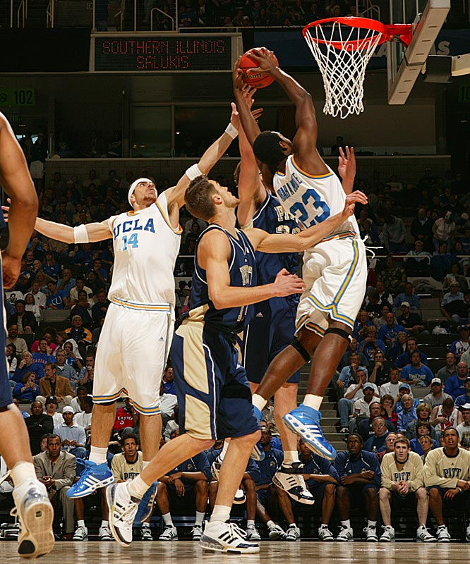 UCLA's Luc Richard Mbah a Moute grabs a rebound during the Bruins' win that sets up a showdown with No. 1 seed Kansas.