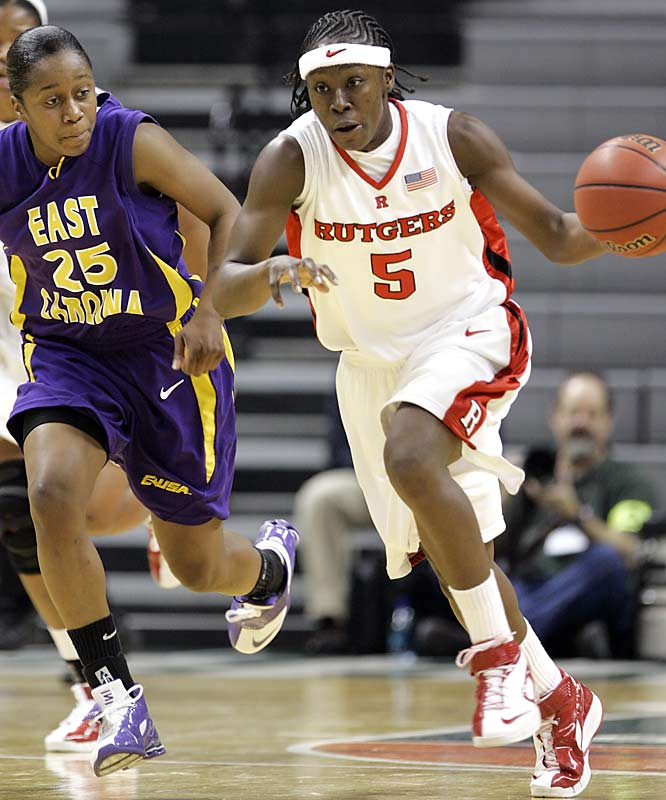The East Carolina Pirates were overmatched by Essence Carson (5) and her Rutgers' teammates.