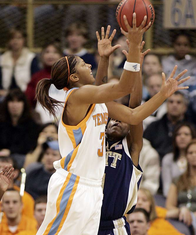 Candace Parker carried Tennessee over Pitt with 30 points and 12 rebounds.