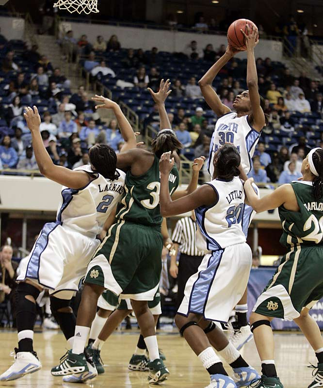 North Carolina's LaToya Pringle shoots over Notre Dame in a tight second round game in Pittsburgh.