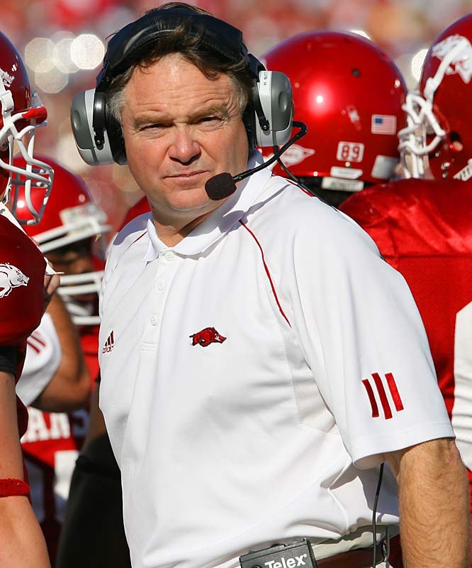 After a 10-win season and an appearance in the SEC title game, the Razorbacks suffered a winter of high drama. Offensive coordinator Gus Malzahn, QB Mitch Mustain and WR Damian Williams are gone, athletic director Frank Broyles is on his way out and reigning SEC Coach of the Year Houston Nutt (pictured) is facing constant speculation about his job security. What will the spring hold?