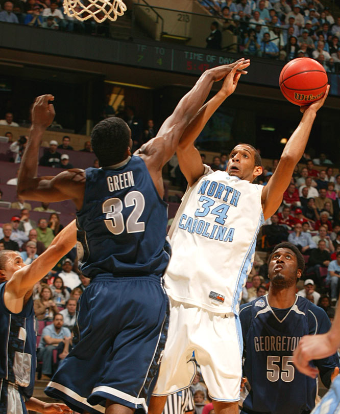 Brandan Wright, who had 14 points for North Carolina, attempts a shot over Georgetown's Jeff Green.