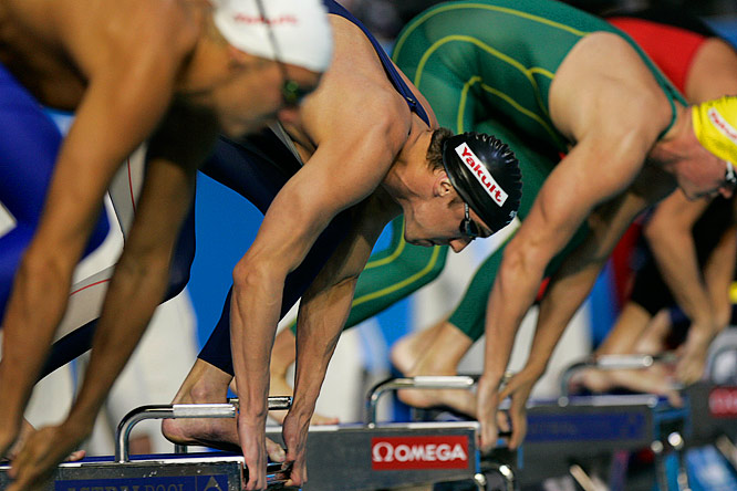Michael Phelps of the United States is at the ready in the Mens 200 Freestyle semifinal first heat.