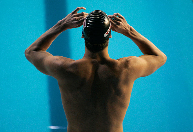 Michael Phelps preparing for the start of the Mens 200M Butterfly semifinal.