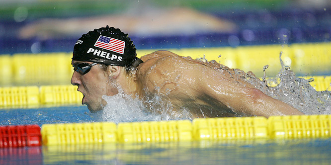 Michael Phelps en route to winning the Mens 200M Butterfly final in Melbourne.