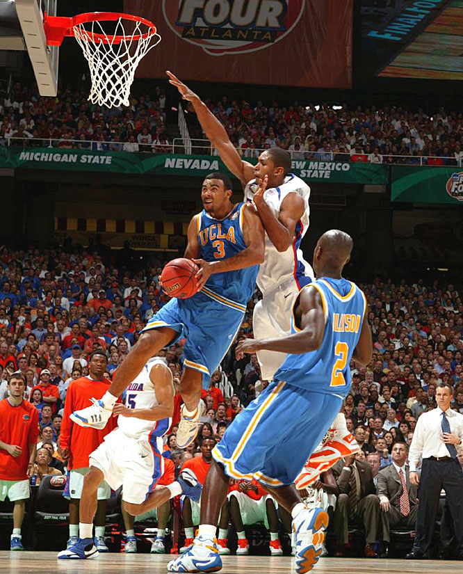 UCLA's Josh Shipp, who scored 18 points for the Bruins, slips underneath the defense of Al Horford.
