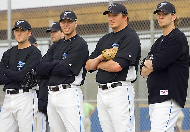 Young guns (left to right): Josh Towers, Roy Halladay, B.J. Ryan and A.J. Burnett.