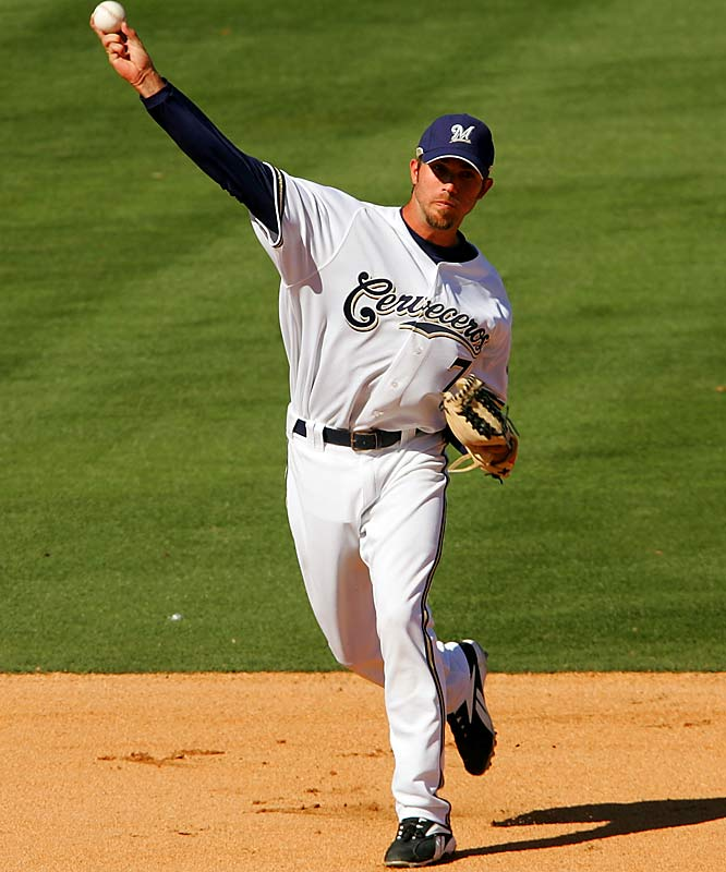 J.J. Hardy, another rehabbing Brewers who missed most of last season with an injury, makes a play against the Giants on March 3 at Maryvale Baseball Park.