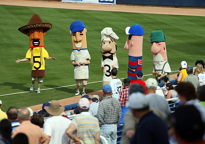 Making a special appearance from the heartland, the famous Milwaukee sausages show up at spring training. Were they trying to get in shape for the season, perhaps?